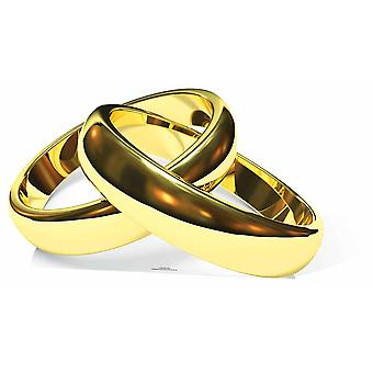 Guld vielsesringe pap påklædningsdukke / Standee / står