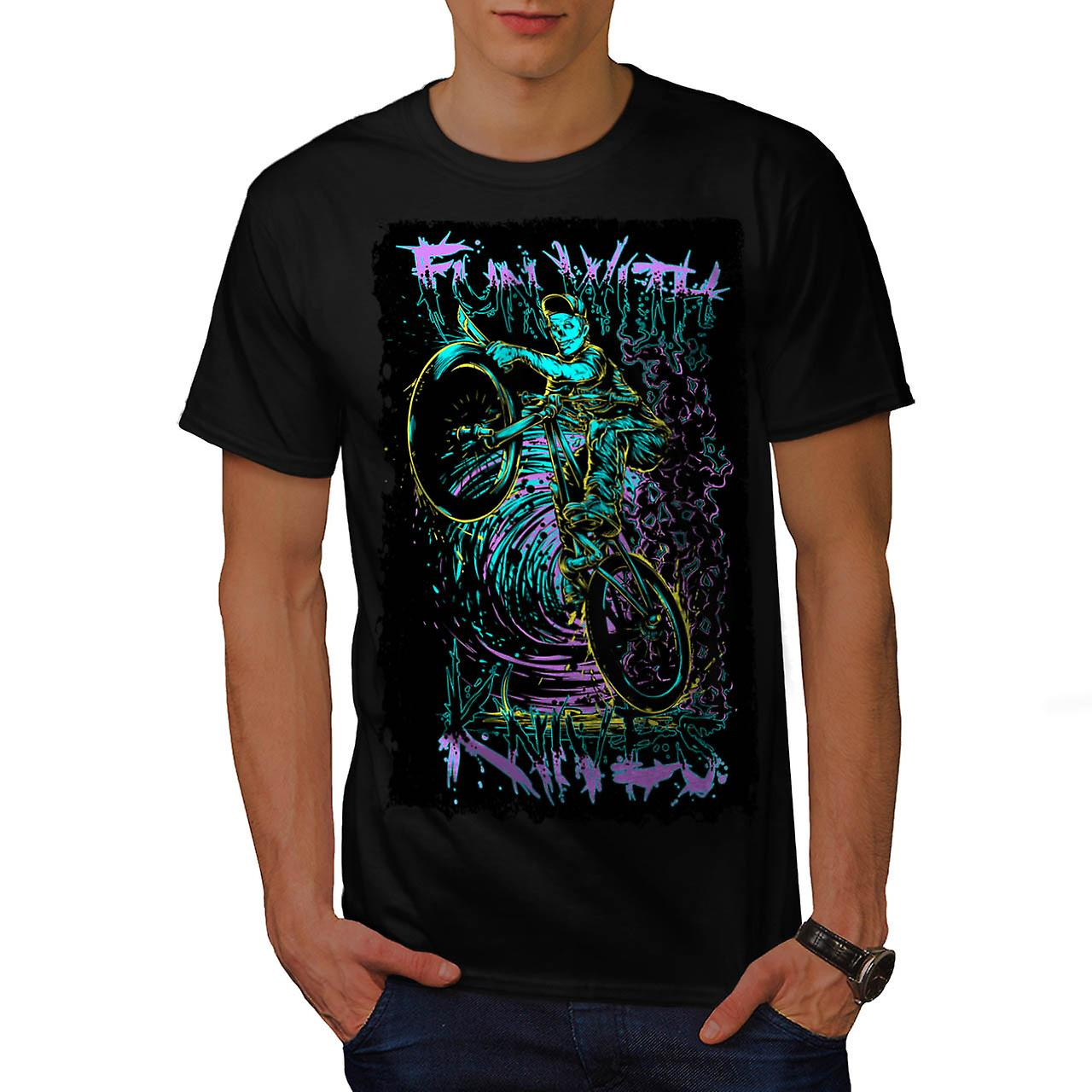 Fun Knive Biker Art Skull Men Black T-shirt | Wellcoda