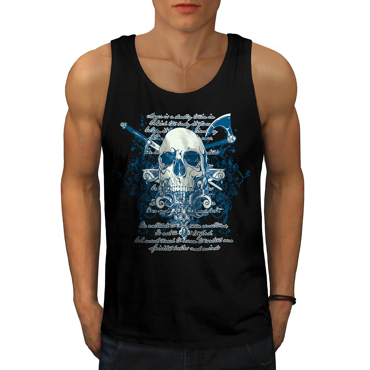Axe Death Cool Goth Skull Men Black Tank Top | Wellcoda