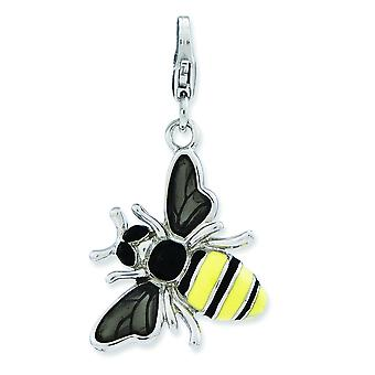 Sterling Silver Enameled 3-d Yellow Jacket With Lobster Clasp Charm - 3.6 Grams