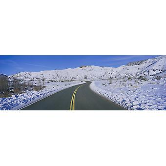 Panoramic view of winter snow along Route 33 in the Los Padres National Forest Wilderness area known as the Sespe California Poster Print