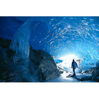 Alaska Juneau Mendenhall gletsjer Hiking ijsgrot Binnenaanzicht PosterPrint verkennen