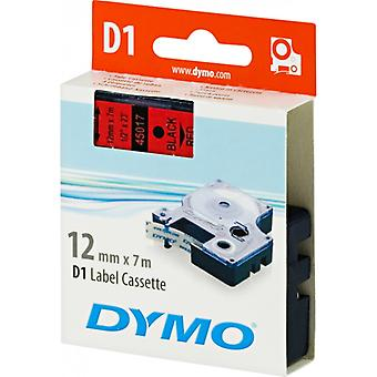 DYMO D1 tapes standard 12 mm, black on red, 7 m roll (45017)