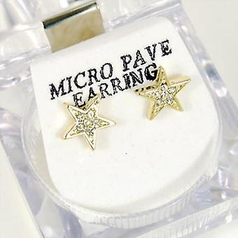 Bling Mirco Pave Ohrstecker - GOLD STAR 8mm