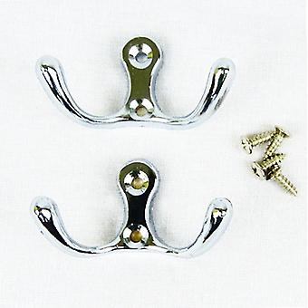 Blackspur Double Robe Hook/Hanger with Fittings for Clothes, Hat or Coat Chrome Plated Pack of 2