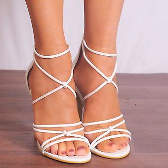 Shoe Closet White Strappy Heels - Ladies Ed40 White Patent Strappy Sandals Peep Toes High Heels