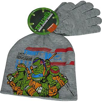 Boys Ninja Turtles Winter Beanie, Hat & Gloves -2 Piece set