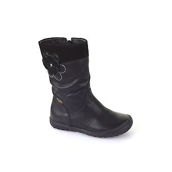 Froddo Girls Black Leather Waterproof Long Boots With Flower