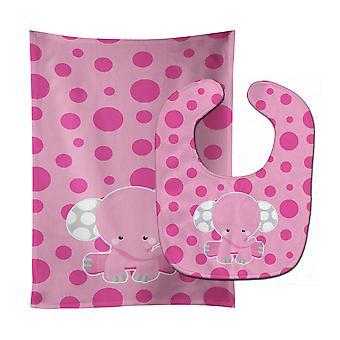 Elefante con babero lunares rosa y paño del Burp