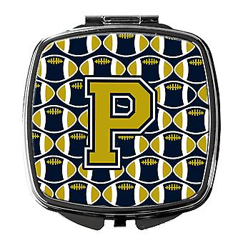 Carolines Treasures  CJ1074-PSCM Letter P Football Blue and Gold Compact Mirror