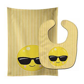 Carolines Treasures  BB8740STBU Cool Sunglass Face Baby Bib & Burp Cloth
