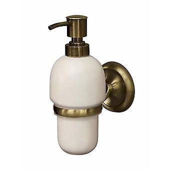 Retro Bathroom Antique Brass Wall Mounted Grip + Liquid Soap Ceramics Dispenser