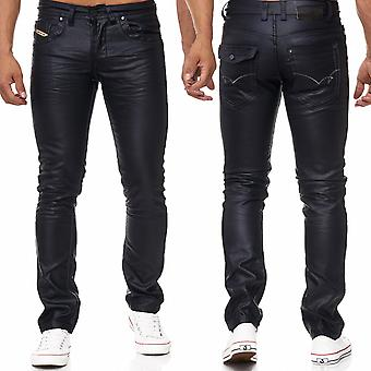 Men's jeans pants coated black coated optics