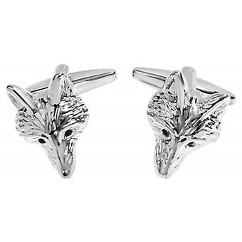 Zennor Fox Head Cufflinks - Silver