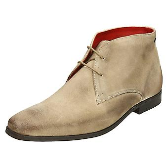 Mens Base London Ankle Boots Henry - Beige Greasy Suede - UK Size 10 - EU Size 44 - US Size 11