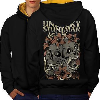 Unlucky Stuntman Skull Men Black (Gold Hood) Contrast Hoodie Back | Wellcoda