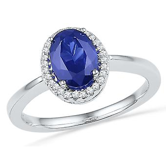 Lab Created Blue Sapphire 1.20 Carat (ctw) Ring in Sterling Silver with Diamonds 1/12 Carat (ctw)