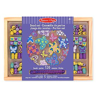 Melissa & Doug Butterfly Friends Wooden Bead Set 150+ Beads