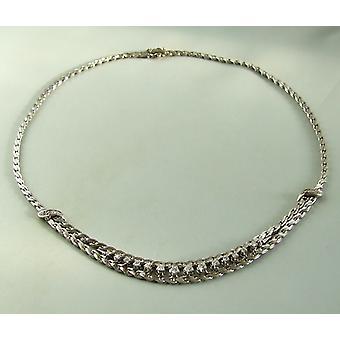 collar de oro blanco de 14 k con diamantes