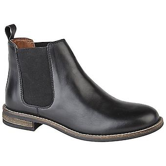 Ladies Womens Leather Slip On Twin Gusset Smart Chelsea Ankle Boots
