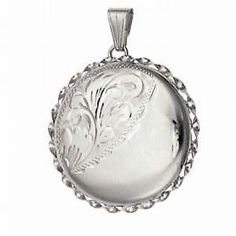 Silver 31mm half engraved twisted wire edge round Locket