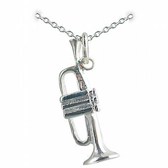 Silver 27x9mm Trumpet Pendant with a rolo Chain 14 inches Only Suitable for Children