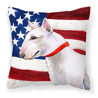 Bull Terrier Patriotic Fabric Decorative Pillow