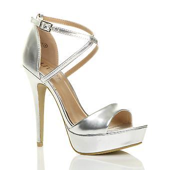 Ajvani damskie platformy szpilki peep toe przejechać paski sandały buty