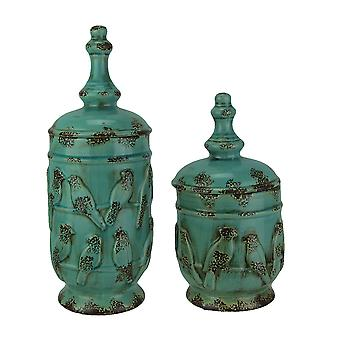Turquoise Vintage Finish 2 Piece Set of Birds On a Wire Ceramic Jars with Lid
