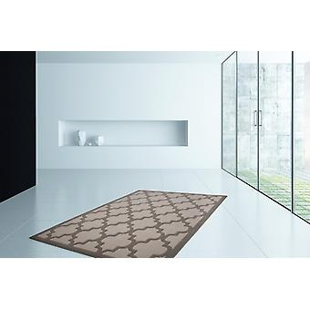 Modern flat pile carpet 3D flat weave rugs taupe silver offer