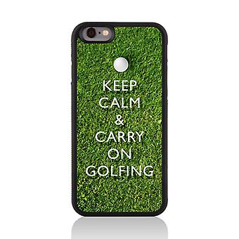 Call Candy Apple iPhone 7 Sporty Keep Calm Carry On 2D & Golfing Printed Case