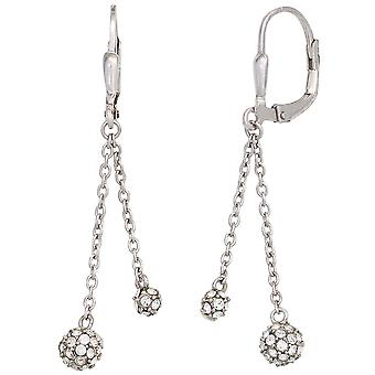 925 sterling silver rhodium plated boutons earrings with cubic zirconia