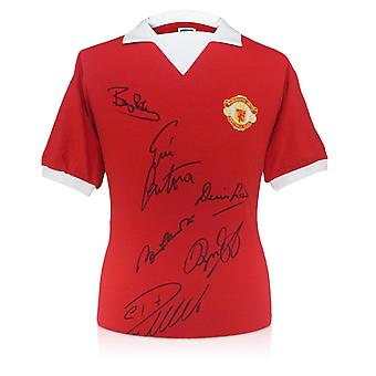 Manchester Utd Shirt Signed By Cristiano Ronaldo, Bobby Charlton, Eric Cantona, Denis Law, Bryan Robson and Ryan Giggs