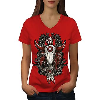 Rose Indian Beast Skull Women RedV-Neck T-shirt | Wellcoda