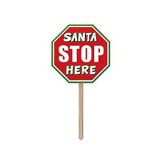 Plástico Santa parada aquí la yarda 12½ de signo