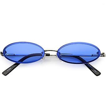 Retro Small Rimless Oval Sunglasses Slim Arms Color Tinted Lens 54mm