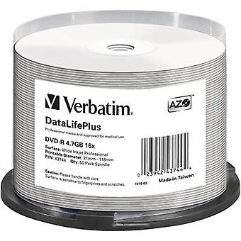 Verbatim 43744 lege DVD-R 4,7 GB 50 PC (s) spindel afdrukbare