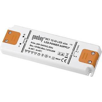 Goobay SET 12-20 LED slim LED transformer Constant voltage 20 W 1.67 A 12 Vdc Approved for use on furniture