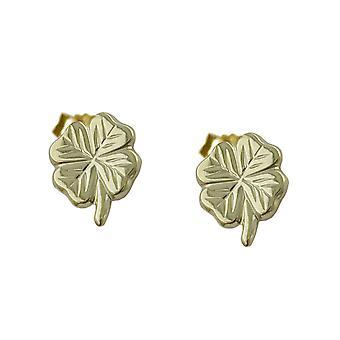 Ohrstecker gold Ohrring KLEEBLATT Glücksohrring Stecker Glücksklee 9 Kt Gold 375