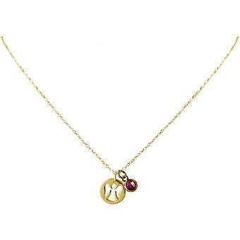 Damen - Halskette - Anhänger - Engel - Schutzengel - 925 Silber - Vergoldet - Rubin - Rot - 1,3 cm