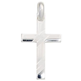 Colgante cruz colgante de plata Cruz 925 plata de ley rodiado en parte helado