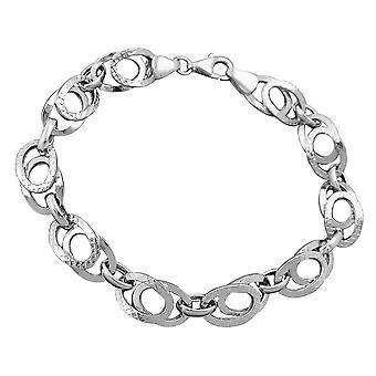 Rhodium plated 9 mm fantasy pattern bracelet 925 Silver