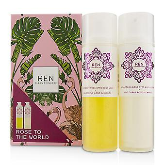 Ren Rose To The World Moroccan Rose Otto Set: Body Wash 200ml + Body Lotion 200ml - 2pcs