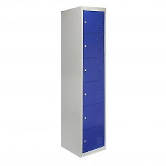 Metal Storage Lockers - Six Doors, Flatpacked, Blue