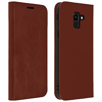 Business leather book case, stand case for Samsung Galaxy J6 - Brown