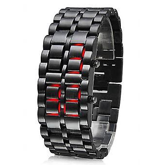 Reloj de pulsera de pulsera de acero inoxidable TRIXES moderno LED Digital Lava Samurai sin rostro