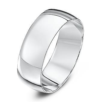 Star Wedding Rings 9ct White Gold Light D Shape 7mm Wedding Ring