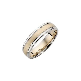 Sterne Trauringe 9ct weiß & gelb Gold Gericht gestalten 6 mm Hochzeit Ring