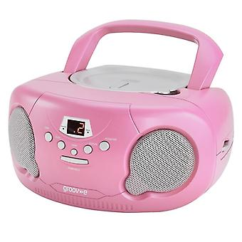 GVPS733PK Original Aux-In Boombox Portable CD Player with Radio - Pink