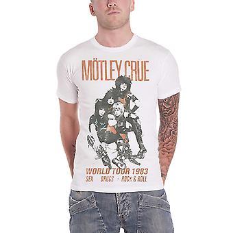 Motley Crue T Shirt Distressed Vintage World Tour Logo Official Mens New White
